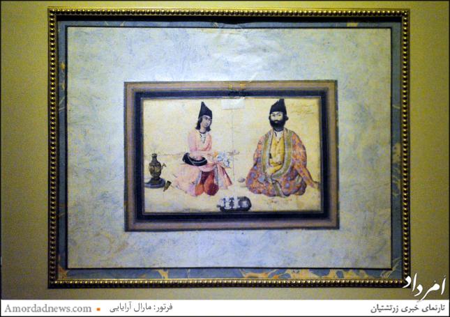 نگاره حسنعلی میرزا شجاع السلطنه به همراه خدمتکار آفرینه عبدالله نقاشباشی