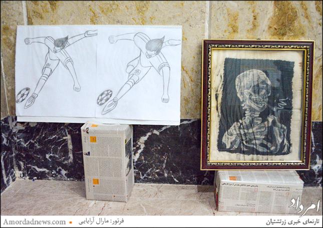 یکی از نقاشیهای محمد محمودی که آرزو دارد پویانمایی فوتبالیست ایرانی را بسازد