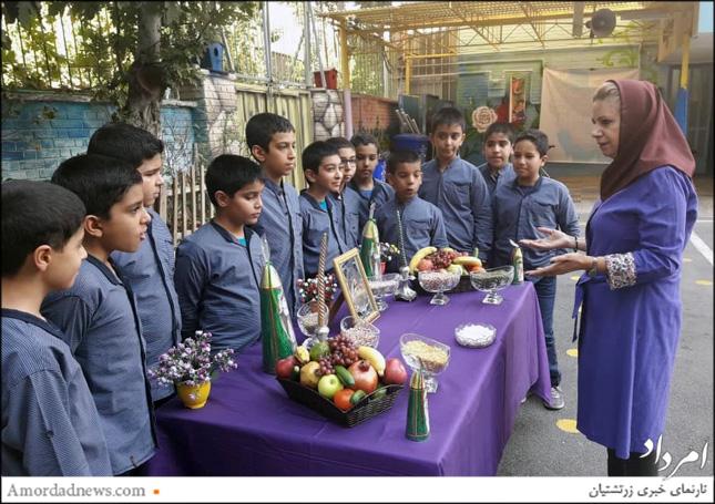 فیروزه فرودی دربارهی فلسفهی جشن مهرگان و چیدنیهای روی آن با دانشآموزان سخن گفت