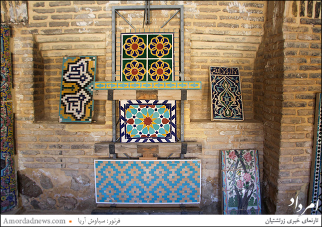 کاشیهای زیبا و رنگارنگ تاریخی شیراز در کاروانسرای هفتتنان
