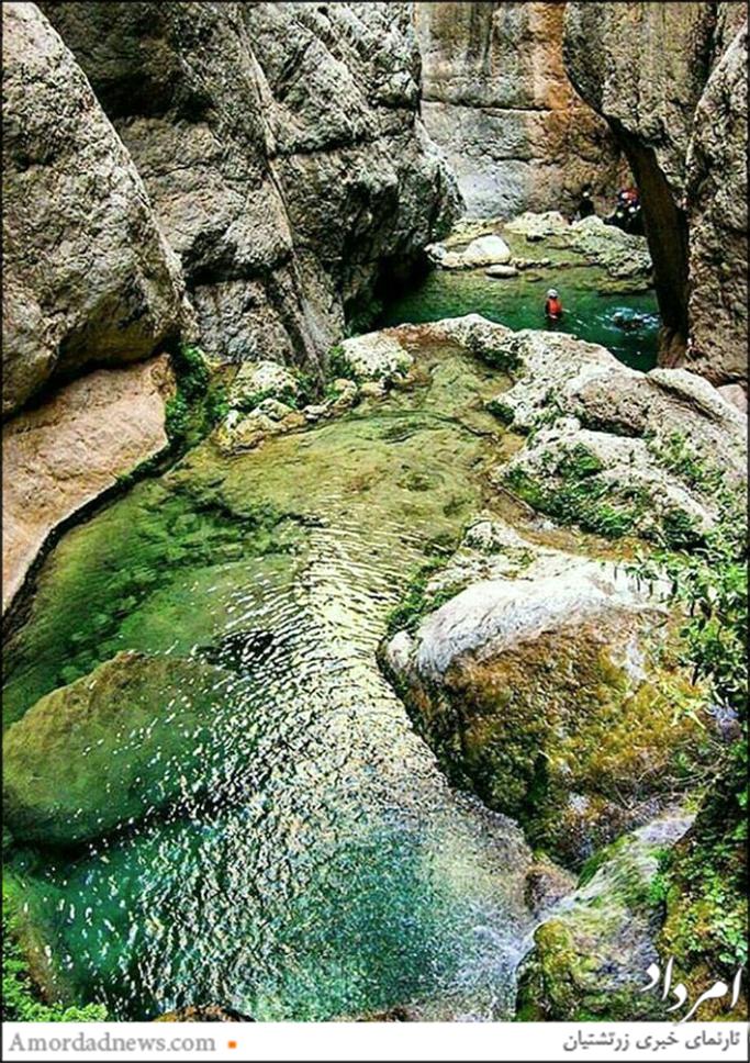 برخی آبشارهای تنگه رغز با پرش در آب قابل گذر است