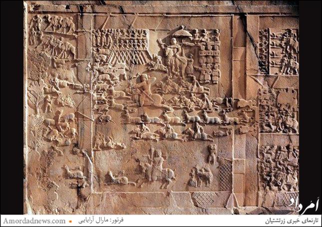 سنگبرجسته شکارگاه گوزن در تاق بستان کرمانشاه