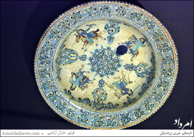 بشقاب سفال لعابدار مینایی، یافت شده در ری وابسته به سده هفتم مهی