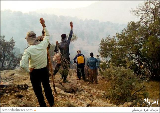 جنگلبانی منطقه، انجمن محیط زیستی و منابع طبیعی، نیروی انتظامی و دهیاری مرواید در مهار آتشسوزی جنگل مروارید همراه شدند