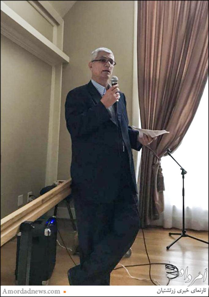 سخنرانی فریبرز رهنمون دربارهی فلسفهی گهنبار میانهی تابستان در کلیسای شهر کرکلند آمریکا
