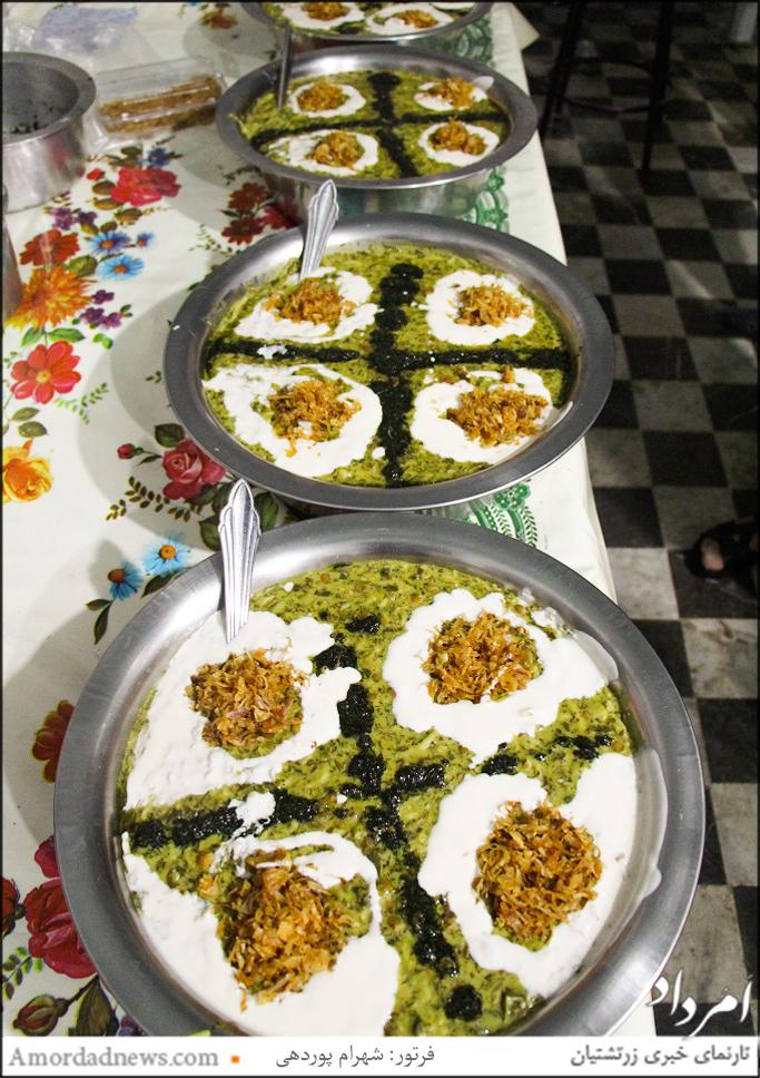 پذیرایی با آش رشته از باشندگان جشن تیرگان شیراز