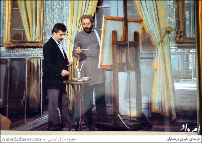 زنده یاد جمشید مشایخی و استاد شکیبا در تالار آینه در پشت صحنه فیلم کمالالملک