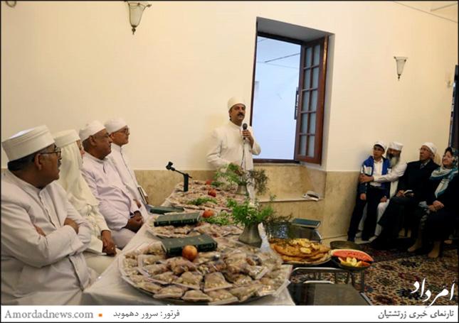 موبد مهربان پولادی از انجمن موبدان تهران در آیین واجیشت یزد سخنرانی کرد