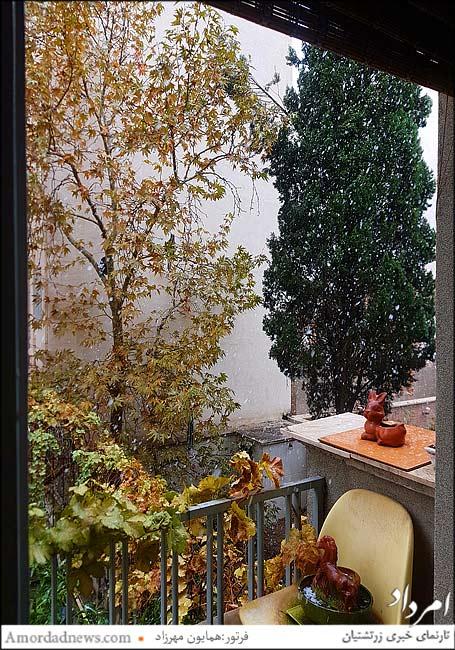اولین بارش برف پاییزی تهران