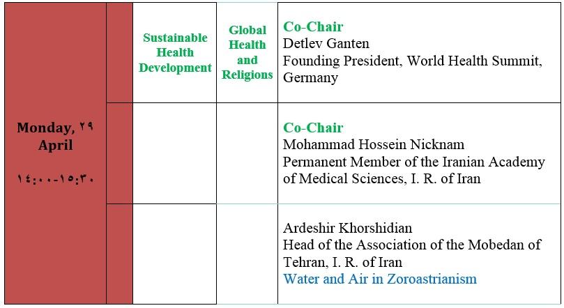 برنامه سخنرانی موبد دکتر اردشیر خورشیدیان در هفتمین نشست منطقهای مجمع جهانی سلامت در جزیره کیش