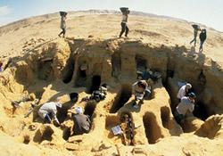 گروهی در حال کاوش باستانشناسی هستند