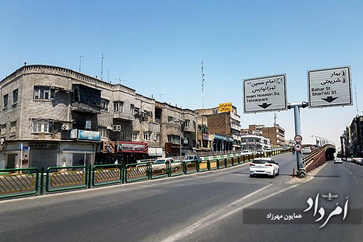 بلندترین پل درونشهری ایران( یک کیلومتر) در حدفاصل پل چوبی - میدان فردوسی