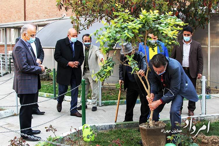 به یادبود دکتر اردشیر خورشیدیان درختی در حیاط بیمارستان فارابی کاشته شد