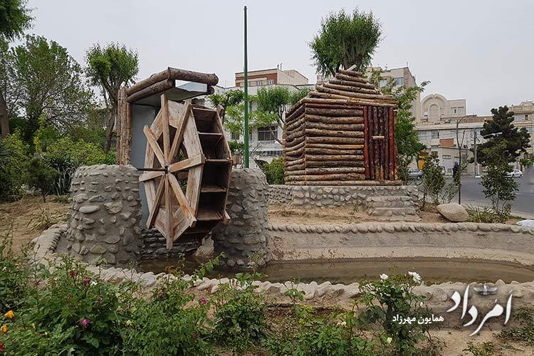 ماکت چوبی آسیاب آبی بیادبود سرآسیاب قدیمی محله سلیمانیه